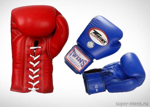 боксерские перчатки со шнуровкой и без